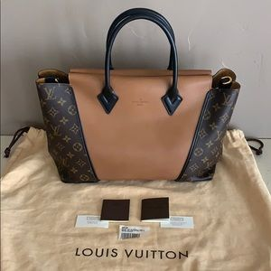 LOUIS VUITTON W MONOGRAM CUIR ORFEVRE PM NOISETTE